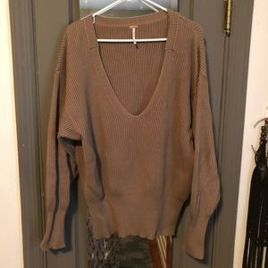 Ribbed V-neck Free People Sweater